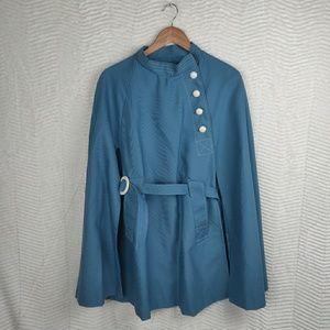 RARE Vintage 1960's Jerold Blue Belted Cape Coat